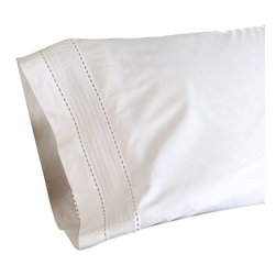 Taylor Linens - Tailored Pinefore White King Pillowcase Set - Rest your head against this crisp percale pillowcase and let its charms transport you. Each case is edged with tidy rows of pintucks framed by bands of hemstitching, for a look of bygone luxury that's still accessible today.