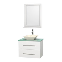 """Wyndham Collection - Centra 30"""" White Single Vanity, Green Glass Countertop, Pyra Bone Porcelain Sink - Simplicity and elegance combine in the perfect lines of the Centra vanity by the Wyndham Collection. If cutting-edge contemporary design is your style then the Centra vanity is for you - modern, chic and built to last a lifetime. Available with green glass, pure white man-made stone, ivory marble or white carrera marble counters, with stunning vessel or undermount sink(s) and matching mirror(s). Featuring soft close door hinges, drawer glides, and meticulously finished with brushed chrome hardware. The attention to detail on this beautiful vanity is second to none."""