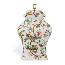 Scalamandre Maison by Port 68 - Chinoise Exotique Jar - Inspired by Scalamandre's iconic Chinoise Exotique pattern, this porcelain jar depicts a stylized tableau of blossoms, vines, figures and animals. Accented with a square bamboo brass finial, this Asian-style jar makes a welcome addition to a variety of different decor. Set it on your mantle as a pair or use it to decorate a bookshelf. Holds water.