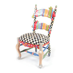 Rabbit Chair | MacKenzie-Childs - A child's version of our classic Fish Chair. Courtly Check® upholstered seat and hand-painted pair of rabbits. Solid hardwood frame with resin sculpted rabbits. Foam seat upholstered in our proprietary Courtly Check® fabric. Nontoxic paints. Child safety tested.