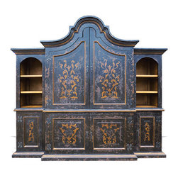 Koenig Collection - Old World Traditional Entertainment Center Brazil, Black Baroque Distressed - Brazil Entertainment Center, Black Baroque Distressed with Gold Scrolls
