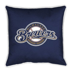 Sports Coverage - MLB Milwaukee Brewers Sidelines Toss Pillow - Make that new officially licensed MLB Milwaukee Brewers Sidelines Toss Pillow look as good as it feels. A must have for any true fan. A New Design - Same great quality!! Coordinating Toss pillow to match jersey material logo Comforter. Pillow is 17 x 17, 100% Polyester Cover and Fill. SIDELINES is trimmed in teams secondary color. 100% Polyester Jersey. Spot Clean only.