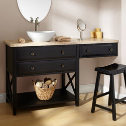 """60"""" Clinton Vessel Sink Vanity with Makeup Area - Black - Prepare for an evening out, or start the work day beautifully, at the 60"""" Clinton Black Vanity, which features a makeup area and a stunning travertine top."""