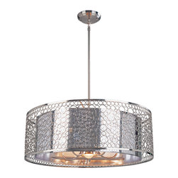 Z-Lite - Saatchi 6-light Pendant - With a definite retro influence contrasting with a contemporary execution,this smaller style pendant will be a remarkable accent piece for your home decor. The mirrored inner shade is surrounded by a very modernly textured outer shade.