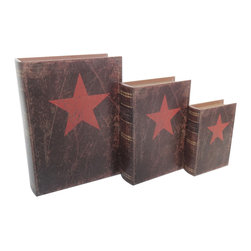 """Cheung's - Home Decorative Seasonal Gift Set Of 3 Vintage Book Box With Red Star - Nested for Space Saving. Felt Lining. """"Phytographia Cvriosa"""""""
