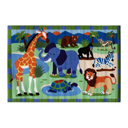 """Fun Rugs - Wild Animals Olive Kids Collection Rug - 39"""" x 58"""" - This colorful rug has wild animals design Collection Name: Olive Kids; 100% Nylon Dimensions: 39"""" x 58"""""""