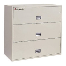 SentrySafe L4300 Insulated 3 Drawer Lateral Filing Cabinet - 43 Inch - A wonderful choice for the office, the SentrySafe L4300 Insulated 3 Drawer Lateral Filing Cabinet - 43 Inch has an extra-wide build that provides much needed space for high-volume filing needs. This sleek cabinet is constructed from heavy-duty metal that's been thoroughly insulated against dust and debris and provides phenomenal fire protection. UL-Classified explosion resistance and fire endurance for up to one hour of 1700-degree temperatures make this a formidable chest that you can always depend on to keep your business records and valuables safe. Of course, it isn't always the elements that pose a threat to your treasured keepsakes and important documents. To provide maximum security, a plunger key lock has been included to secure all three drawers. A drawer specific lock/unlock function is also featured so you can isolate access to certain drawers while keeping others tightly sealed. Each of these drawers opens with easy-to-use recessed handles with label holders and accommodates letter- and legal-size hanging file folders. The overall dimensions of this unit are 42.8W x 20.5D x 40.6H inches. Available in your choice of black, gray, light gray, sand, tan, and putty finish.Shipping OptionsDock-to-Dock Freight ServiceNo additional charge. Dock-to-dock includes commercial freight delivered to a commercial loading dock. Recipient is responsible for unloading product, final placement, unpack, and debris removal. Not available for residential deliveries.Curbside DeliveryDelivery personnel will present goods to ground level at rear of delivery vehicle. Recipient is responsible for final movement of goods, unpack, and debris removal. Curbside delivery will not bring the item up to a residence.Threshold ServiceDelivery personnel will remove goods from truck and place goods inside first exterior doorway, garage, or carport. Service includes up to four steps exterior to the first doorway. Customer is responsible for final product placement, unpack, and debris removal. Inside Delivery ServiceDelivery personnel will remove goods from truck, place goods in your room of choice, and complete unpack and debris removal. Includes lift gate service and stair carry of 0-4 internal and external steps. Does not include site preparation or protection.About SentrySafeFor over three generations, family-owned SentrySafe has been with you, protecting your valuables, providing you peace of mind. SentrySafe uses rigorous testing standards to ensure your items are protected from fire, water, and theft. They offer safes in a wide range of sizes and types, and continue to innovate protection technology. They are proud to make all of their products right here in the United States. SentrySafe is a name you can trust for all your irreplaceable items.