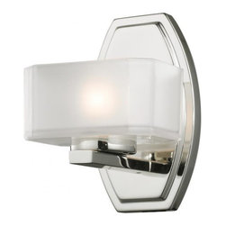 1 Light Chrome Frosted White Inside Glass & Clear Outside Glass Bathroom Sconce - This single vanity light has an eye-catching contemporary design with chrome finish, and square cube glass frosted white inside and clear outside.