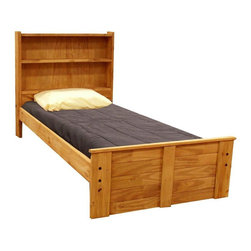 Chelsea Home - Twin Bed with Bookcase Headboard - Mattress not included. Includes slat packs. Rustic style. Metal brackets are used to connect the rails to headboard and footboard. Rails include 1.25 in. cleat glued and screwed to rail for extra strength to support mattress foundation. Solid pine construction for strength and durability. Exceed all safety standards of the Consumer Product Safety Commission. Warranty: One year. Ginger stain finish. Made in USA. Assembly required. 84 in. L x 41 in. W x 43 in. H (95 lbs.)