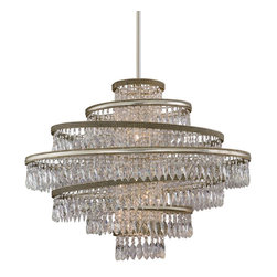 Corbett Lighting - Corbett Lighting Diva Transitional Crystal Pendant Light X-74-231 - Faceted Crystal Drops draped over Hand Crafted Iron makes the Diva Transitional Crystal Pendant Light as elegant as it is detailed. The light fixtures boundless beauty is sure to make any event a black tie affair.