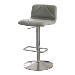 White Line Imports - Contemporary Bar Stool - Leatherette stool designed for comfort. Adjustable height. Footrest and chrome base. Wipe clean with a dry cloth. Gray color. Assembly required. 17 in. W x 20 in. D x 29 - 39 in. H (19 lbs.)