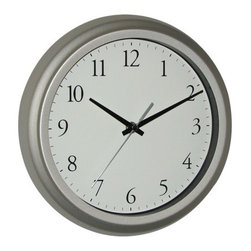 Threshold Wall Clock with Arabic Numerals, nickel - This Threshold brand wall clock has Arabic numbers and a nickel frame and is budget friendly.