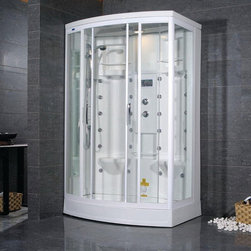 "Atlas International - Ariel ZA213 Left Steam Shower - Ariel ZA213 Left Steam Shower 56x38x85; ETL listed (US & Canada electrical safety) 110v; Computer control panel with timer; Steam sauna with thermostatic control; Acupuncture body massage jets; Overhead rainfall showerhead; Multifunctional handheld showerhead; Temperature setting/display; Aromatherapy (scented oils); Ventilation fan; Ceiling light; FM radio, external CD/MP3 player connection; 2 built-in seats; Available in left / right versions; Weight: 359 lbs; Dimensions: 56""L x 38""W x 85""H"