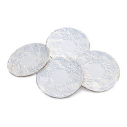 Sanibel Shell Relief Desset Plate Set - You can never go wrong with white, and these dessert plates are so classic and pretty.