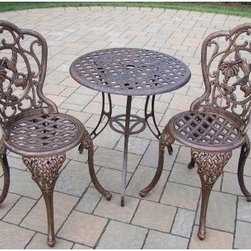 Oakland Living Hummingbird Cast Aluminum Patio Bistro Set - A romantic getaway is just out your back door when you have the Oakland Living Hummingbird Cast Aluminum Patio Bistro Set. Boasting elaborate hand-cast aluminum construction, this three-piece bistro patio set includes a round 26-inch table and two armless chairs. Super durable yet still lightweight, the table and chairs are rust-proof and feature a weather-resistant, hardened, antique bronze powder-coat finish won't chip, crack, or fade. Easy-to-follow assembly instructions are included, as well as weather-resistant hardware for lasting strength.