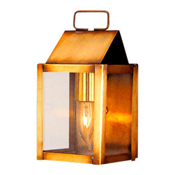 Lanternland - Carriage House Wall Sconce Copper Lantern, Medium, Antique Brass, Clear Glass - The Carriage House Wall Sconce Copper Lantern, shown here in our Verdi Green finish with Seeded glass, is a classic Colonial artisan copper lantern made by hand in the USA from high quality copper or brass. Designed to last for decades and guaranteed for life to never rust or corrode, this handcrafted copper lantern will enhance the natural beauty of your home while adding curb appeal and safety.