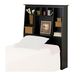 Prepac - Prepac Slant-Back Tall Twin Bookcase Headboard in Black Finish - Prepac - Headboards - BSH4556 - Tall Storage Headboards These functional Slant-Back storage headboards offer a stylish way to stay organized. They're not only ideal for smaller rooms where finding storage space is difficult but are a stylish addition to any bedroom. The slant-back design is unique and offers a look that will fit with most decor designs. The 8 differently sized organizing compartments provide lots of space for storing knick-knacks and personal items. Use with Prepacks Storage Beds or with any bed frame. These products are made from composite woods with overlay laminate and the top has detailed profiled MDF edges.