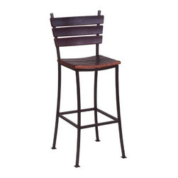 """2 Day - Stave 24"""" Back Bar Stool - Features: -Stave back bar stool. -Available in: -44"""" H size. -38"""" H size. . -Wine barrel oak and steel construction. -Durable iron frame. -Seats made from recently retired oak wine barrel staves. Specifications: -Made in USA."""