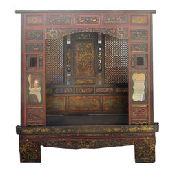Golden Lotus - CaoZhou Antique Red Gold Carving Canopy Wedding Day Bed - Look at this Chinese antique canopy day bed which is made of solid elm wood.  There has gold flower and bird painting around the bed, dragon and phoenix carving on the back frame, and especially the front of bed has gold Chinese opera carving on it.  It can be used as day bed for a snap or decorate your living room now.