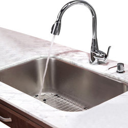 Kraus - 31 1/2 inch Undermount Single Bowl Stainless Steel Kitchen Sink Combo Set, Chrom - Add an elegant touch to your kitchen with unique Kraus kitchen combo