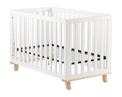 Low-Rise Crib, White Frame With Maple Base - I love the white against the natural legs. The look is so cute and modern.
