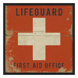 The Artwork Factory - 'Lifeguard First Aid Office' Print - American Sign Language. Across the country this sign symbolizes a lifeguard's first aid station. So if you're drowning in design decisions, or simply need a little help stabilizing your room's decor, this graphic element will come to the rescue.