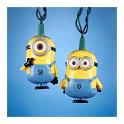"""Lamps Plus - Kids Ten Despicable Me Minions Party String Lights - Add a little fun to your indoor or outdoor spaces with this set of ten string lights featuring the Minions from Despicable Me. Perfect for entertaining or as an eye-catching accent in bedrooms and more these lights add personality and cheer. Includes four spare bulbs and green wire. Despicable Me Minions string lights. 10-light string. For indoor and outdoor use. Includes ten 12v .08A clear incandescent bulbs. Includes 4 spare bulbs and 1 fuse. Includes 30"""" of green lead wire. 12"""" of spacing between lights.   Despicable Me Minions string lights.  10-light string.  For indoor and outdoor use.  Includes ten 12v .08A clear incandescent bulbs.  Includes 4 spare bulbs and 1 fuse.  Includes 30"""" of green lead wire.  12"""" of spacing between lights."""