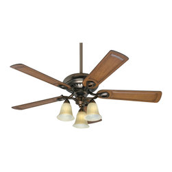 Hunter - Hunter 54059 Whitten 52 In. Bronze Patina Ceiling Fan - Craftsman style meets modern functionality in this beautifully designed model. Made to look handcrafted with ornate, carved wood blades and light stain. Bronze patina finish adds that perfect touch.