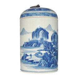 Blue and White Hand Painted Tea Jar - Celebrating a tradition of  timesless style, our hand painted blue and white porcelain tea jar features an  intricately detailed chinoiserie nature scenery.