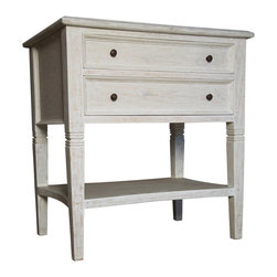 Oxford 2 Drawer Side Table - White Wash - Subtle turned details on the legs and a small degree of coffering on the drawer faces give handsome touches to the simplicity of the Oxford Two-Drawer Side Table in whitewashed mahogany.  Classic and spare, this table is superb when laden with spare linens on its ample undershelf or when placed against the wall to form a symmetrical composition at either end of a traditional loveseat.