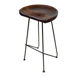 Hardwood And Iron Rustic Bar Stool - What a cool bar stool.  100% solid wood with Forged iron.  Slightly smaller frame so you can fit into smaller spaces.  Price is per barstool.