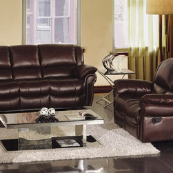 Bianca Italian Leather Reclining Sofa Set - Beautiful 100% genuine Italian leather and soft comfortable seating with smooth reclining end seats on the sofa and loveseat make the Bianca Italian Leather Reclining Sofa Set the perfect addition to your upscale living room decor.