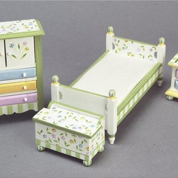 Town Square Miniatures - Springtime Bedroom Dollhouse Miniature Set Multicolor - EMWF666 - Shop for Dollhouses and Dollhouse Furnishings from Hayneedle.com! The Springtime Bedroom Dollhouse Miniature Set is bursting with colorful blooms. Perfect for a country-style or contemporary children's room in your dollhouse this complete set utilizes a 1-inch scale. It includes a dresser bed toy chest and nightstand. A fresh green and white striped palette gives way to a charming botanical pattern and bold drawer faces in baby blue goldenrod and lavender. Crafted from beautifully carved durable wood these pieces offer an appealing whimsy that will complement your dollhouse. This exquisite set is suitable for use in collector dollhouses. As it includes small pieces it's not recommended for children under 13. Dimensions: Dresser: 3.5W x 1.5D x 4.25H in. Bed: 3.25W x 6D x 2.75H in. Toy chest: 2.75W x 1.5D x 2H in. Nightstand: 2W x 1.25D x 2H in.