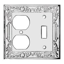 Renovators Supply - Switchplates Chrome Victorian Toggle Outlet Switch Plate - Victorian Chrome Toggle Outlet. Beautiful Victorian inspired switchplates gives any room that perfect touch! Make of die cast brass with a chrome-plate finish. Exquisite design and quality.