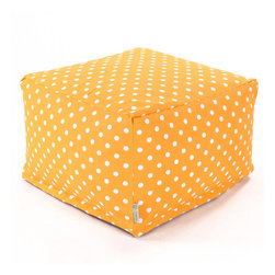 Majestic Home - Outdoor Citrus Ikat Dot Large Ottoman - Roomy and comfy with a cute modern polka dot print, this ottoman could quickly become one of the most coveted items in your house. You'll be pulling it out for an impromptu coffee table on the deck, an extra seat for your kid's buddy on movie night or a cushy footrest for the recliner. The beanbag filling is 50 percent recycled beads and the cover is outdoor-safe and removable for easy cleaning.