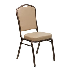 Flash Furniture - Flash Furniture Hercules Crown Back Stacking Banquet Chair in Tan - Flash Furniture - Stacking Chairs - FDC01COPPERTNVYGG - This is one tough chair that will withstand the rigors of time. With a frame that will hold in excess of 500 lbs. the Hercules Series Banquet Chair is one of the strongest banquet chairs on the market. You can make use of banquet chairs for many kinds of occasions. This banquet chair can be used in Church Banquet Halls Wedding Ceremonies Training Rooms Conference Meetings Hotels Conventions Schools and any other gathering for practical seating arrangements. The banquet chair is also great for home usage from small to large gatherings. For any environment that you use a banquet chair it will put your guests at a greater comfort level with the padded seat and back. Another advantage is the stacking capability that allows you to move the chairs out of the way when not in use. With offerings of comfort and durability you can be assured that you can enjoy this elegant stacking banquet chair for years to come.