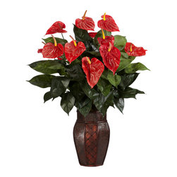 """Nearly Natural - Anthurium w/Vase Silk Plant - If you need a floral arrangement that will make people stop and say """"Wow"""", then this is the display that you want.  Why, the bright colors alone are enough to bring a smile to anyone's face.  That's nothing to say of the delicate, yet lush leaf patterns that play across this lovely setting.  Standing at 30"""" tall in its included vase, this will certainly be a high point of any room."""