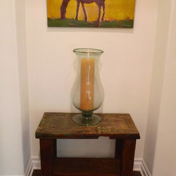 Spanish Colonial/ Calabasas - Antique door side table w/shelf . This piece was reclaimed from the better part of one of our antique doors