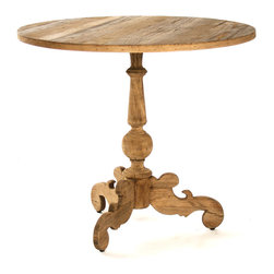 Bourges Table - Casual rooms take on an elegant charm and formal ones gracefully absorb a fresh wood tone with the beautiful Bourges Table, a round pedestal side table made from solid elm with the particular refinement of its design evidenced by three scrollwork feet.    A perfect globe in the staff that supports the table echoes the round top; both beautifully show the wood's natural grain.