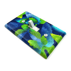 Modern Switch - Neon Ombre Butterfly Light Switch Cover Purple Green Blue - This light switch cover is made when ordered please allow 1-2 weeks before shipping.