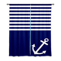 DiaNoche Designs - Window Curtains Unlined by Organic Saturation - Navy Blue Love Anchor Nautical - Purchasing window curtains just got easier and better! Create a designer look to any of your living spaces with our decorative and unique unlined window curtains. Perfect for the living room, dining room or bedroom, these artistic curtains are an easy and inexpensive way to add color and style when decorating your home.  This is a tight woven poly material that filters outside light and creates a privacy barrier.  Each package includes two easy-to-hang, 3 inch diameter pole-pocket curtain panels.  The width listed is the total measurement of the two panels.  Curtain rod sold separately. Easy care, machine wash cold, tumbles dry low, iron low if needed.