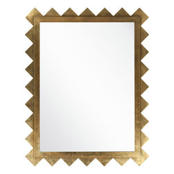 Surya Rectangular Geometric Wall/Floor Mirror - Surya Rectangular Geometric Wall Mirror is a glittering gold stand out, perfect for any room.