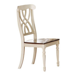 Monarch Specialties - Monarch Specialties Dining Chair in Antique White (Set of 2) - These armless dining chairs compliment the style of the dining table with their sleek lines and antique white finish. With turn post legs and a unique interlacing curve motif, these pieces are completed with a warm, walnut colored seat. What's included: Side Chair (2).