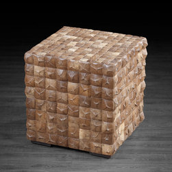 Artemano - Cube Made of Coconut Shells With Many Functions - Intricately handcrafted out of coconut shells, this gorgeous cube adds texture to its space and gives character to its surroundings.  Perfect as a gorgeous living room accent table, extra seating for guests during a party or even as a chic footrest in the family den, this multifunctional stool represents the ideal balance of form and function wherever it's placed! Each cube has slight variations in color, shape and texture; no two pieces are exactly alike.