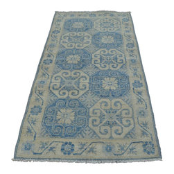 1800-Get-A-Rug - Runner Sky Blue Khotan 100% Wool Oriental Rug Hand Knotted Sh20969 - Our Tribal & Geometric hand knotted rug collection, consists of classic rugs woven with geometric patterns based on traditional tribal motifs. You will find Kazak rugs and flat-woven Kilims with centuries-old classic Turkish, Persian, Caucasian and Armenian patterns. The collection also includes the antique, finely-woven Serapi Heriz, the Mamluk, Afghan, and the traditional handmade village Persian rugs.
