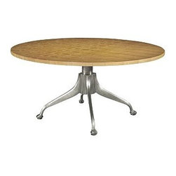 New Yorker Table by Hickory Chair Furni - This wonderful table combines old and new, with a gorgeous wood top and a more industrial metal base. It recalls a 1930s Parisian look, but also works well in today's vintage modern, new traditional or eclectic spaces, as well as in contemporary and mid-century decors.