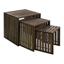 Vinho Nesting Tables - Set of 3 - This demure set of nesting tables was inspired by the classic charm of old wineries. Made of aged wood and iron, they're ready to outfit your rustic, industrial, or even Old World-inspired spaces.
