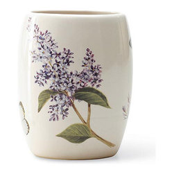 Blonder Home Expressions Etude de Fleur Tumbler - Bring the loveliness of lilacs to your bathroom with this lovely ceramic water cup.