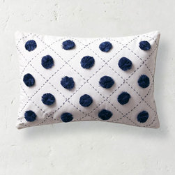 Grandin Road - Chelsea Pom Decorative Pillow - Decorative pillows in white with blue accent colors. Comfortable cotton cover, with soft polyester fiber fill. All toss pillows reverse to solid white. Spot clean. Imported. Give your bed or favorite chair or sofa designer panache by tossing on your own custom arrangement of decorative pillows. An easy and fashionable way to change up a look, without losing sleep over the cost. Cloud white is embellished with just the right amount of cool blue tones.  . . . . .