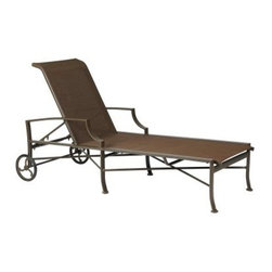 Winston Exeter Sling Chaise Lounge - Nap in the fresh air or enjoy a good book, poolside, with the Winston Exeter Sling Chaise Lounge. This sling-style chaise maintains an elegant style and the sling fabric won't hold water so it's quick to dry. Slings are available in a wide range of colors and fabrics so pick the one that will look best by your pool and let the fun begin. The aluminum frame has a slim, weather-resistant design and offered in a range of classic finishes. Aluminum won't rust or corrode in even the dampest conditions, and cleaning requires only a damp cloth.About Winston Furniture CompanyStarted in 1975, Winston Furniture Company manufactured simple aluminum furniture with virgin vinyl straps. As the popularity of casual furniture increased and consumers craved comfort, Winston answered the call by being the first company to introduce cushioned, mildew-resistant fabrics for outdoor use. In 1982, Winston was once again at the forefront by adding stylish, easy-to-maintain sling furniture to its product line.Today, the Winston Furniture line is comprised of cushion and sling furniture with a host of styles. A variety of powder-coated paint finishes and sling colors, along with over a hundred fabric selections allow you to create just the look you need. All Winston Furniture product materials are proudly sourced in the U.S.A. Welding is completed in a state-of-the-art manufacturing facility in Juarez, Mexico. Products are shipped to El Paso, Texas for finishing and final inspection before being shipped to your door.Winston Furniture Company, Inc. has earned several design and service awards from retailers over the past 25 years. The most notable of these honors is the National Association of Casual Furniture Retailers'; (NACFR) Casual Furniture Manufacturer Leadership Award. Since the awards' inception in 1990, Winston is a four-time recipient as well as a finalist every year.